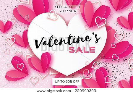 Valentine's day sale. banner template. Pink heart in paper cut style on white background.Heart frame. Text. Shop market poster design. Romantic Holidays. Love. 14 February. Vector