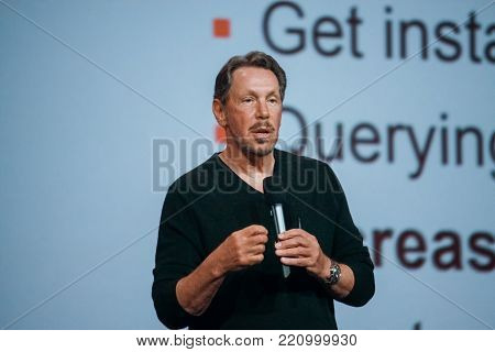 SAN FRANCISCO, CA, USA - SEPT 22, 2013: CEO of Oracle Larry Ellison makes his speech at Oracle OpenWorld conference in Moscone center on Sept 22, 2013.