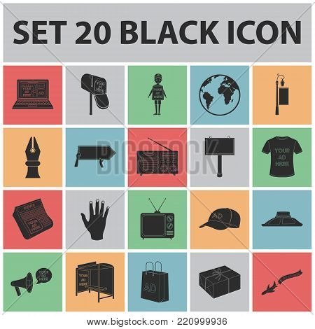 Production of advertising black icons in set collection for design. Advertising equipment vector symbol stock  illustration.