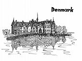 house on the banks of the river Denmark postcard in the sketch style vector work poster