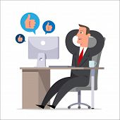 The clerk during working hours communicates in social networks and rejoices the received likes. Procrastination, office plankton, negligent, carefree worker. Flat style vector illustration. poster