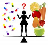Dietary Supplements or Fruits and Vegie. Woman undecided between nutrients in a pill or real fruits and vegetables, poster