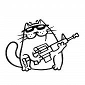 Mafia fighting cat with a submachine gun is ready for war. Cute mafiosi cartoon character. Vector Illustration. White color background. poster