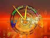 Interplay of elements of a clock and abstract elements on the subject of time progress past present and future of technology poster