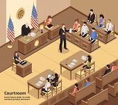 Judiciary isometric vector illustration with jury defendant advocate clerk spectators characters in courtroom interior poster