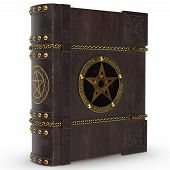 An old magical book in leather and wooden binding and golden trimming. The book of the devil and Satan with the golden star. The image is a 3D model renderer. poster