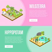 Public zoo with wild animals and visitors isometric posters. People near cages with zebras and hippopotamus vector illustration. Zoo infrastructure elements for landscape design, wildlife concept. poster