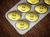 Antidepressant pill with smiling face. 3D illustration. poster