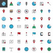 Map pointer, gps marker filled outline icons set, line vector symbol collection, linear colorful pictogram pack. Signs, logo illustration, Set includes icons as location, placeholder, navigation, pin poster