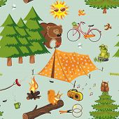 Summer camping seamless pattern in retro style poster