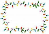Frame made of Christmas lights and holly over white background poster