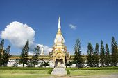 Wat Phra Maha Chedi Chai Mongkol (Nong Phok) Temple for thai people and foreigner travelers travel visit and praying buddha statue in Roi Et, Thailand poster