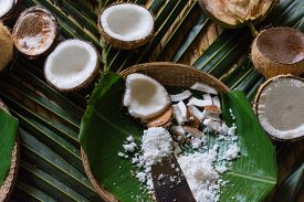 White grated coconut freshly for homemade cooking.