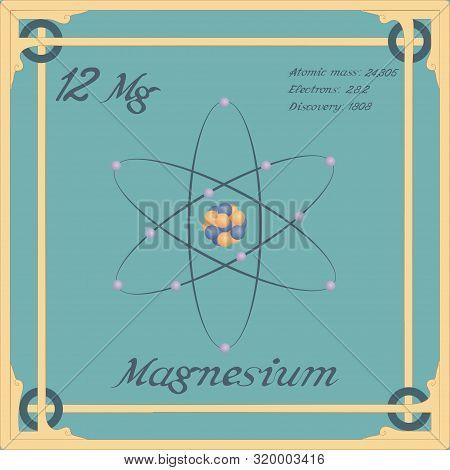 Periodic Table Element. Magnesium Colorful Icon. Vector.