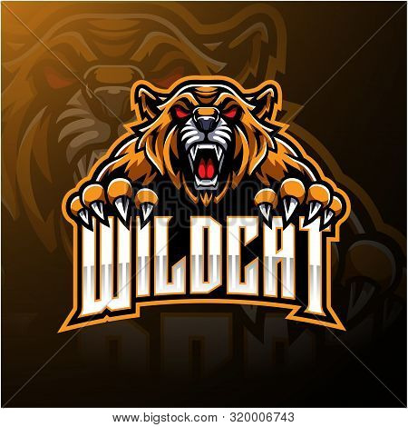 Angry Wildcat Face Mascot Logo Design With Text