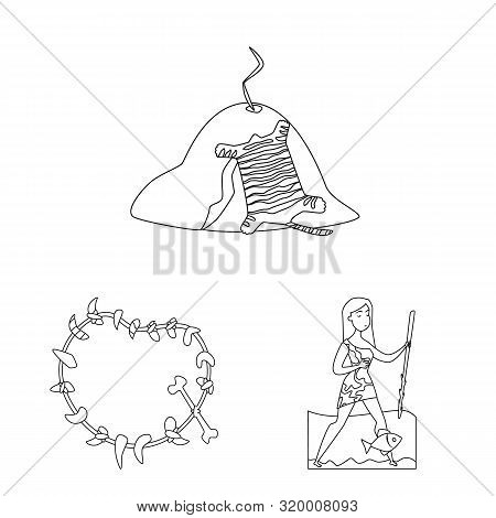 Isolated Object Of Primitive And Archeology Sign. Set Of Primitive And History Stock Vector Illustra