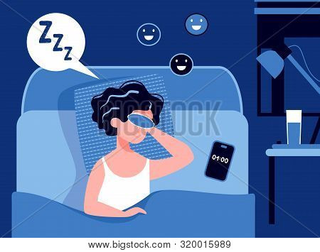 Woman Sleeping In The Bedroom At Night With A Sleeping Mask And Happy Smile. Good Healthy Sleep Conc