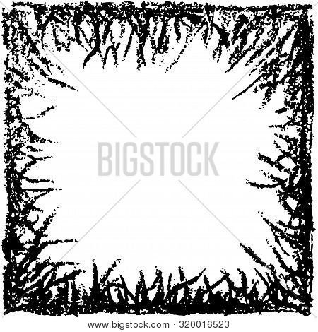 Grunge Frame, Black Ink Grass Border. Vector Background