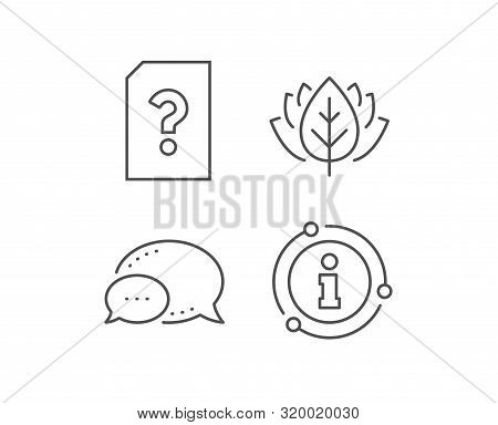 Unknown Document Line Icon. Chat Bubble, Info Sign Elements. File With Question Mark Sign. Untitled