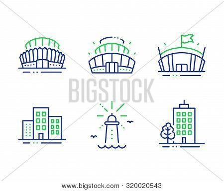 Sports Stadium, Buildings And Lighthouse Line Icons Set. Arena Stadium, Arena And Skyscraper Buildin
