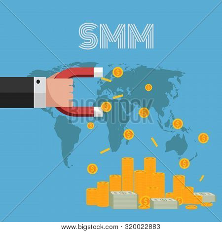 Smm Strategy  Earn Money Hand Magnet Eps 10 Vector
