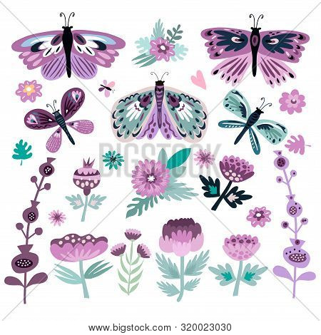 Colorful Folk  Big Set  With Butterflies And  Meadow Flowers. Perfect For Textile, Baby Shower, Card