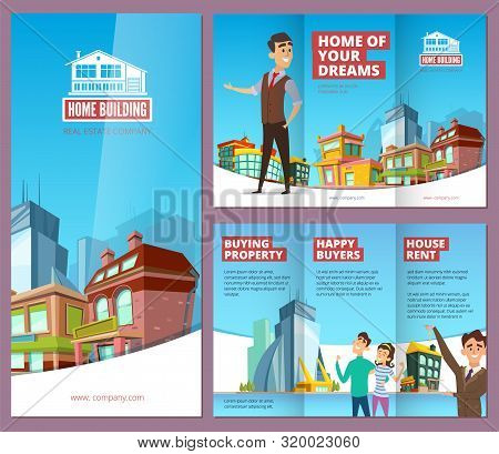 Real Estate Brochure. Printing Banners With Happy Property Buyers Big Buildings And House Rent Servi
