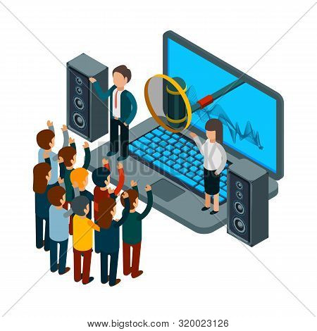 People Sing. Choir Recording Song. Vector Isometric Music Concept. Illustration Record Song To Radio