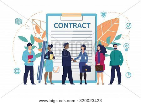 Poster Inscription On Document Contract Flat. Constant Access To Office Information. Men And Women S