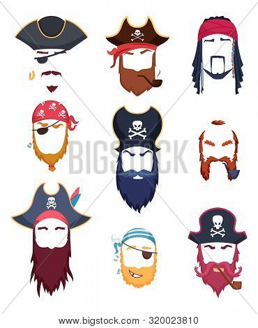 Pirate Masks. Carnival Costumes Element Mustache Hat Beard Hook Hair Vector Creation Kit. Pirate Cos
