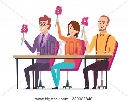 Jury with marks. Judged with scorecards smart entertainment television competition characters vector sitting jury. Jury score group, committee with scorecard illustration poster