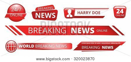 Breaking News Banners. Television Broadcast Header Vector Isolated On White Background. Illustration