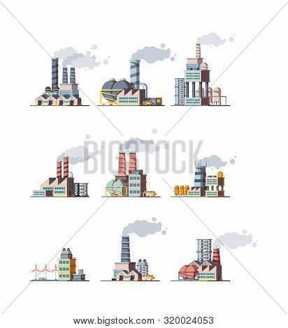 Factory Buildings. Industrial Urban Power Constructions With Pipelines Vector Factory Flat Pictures.