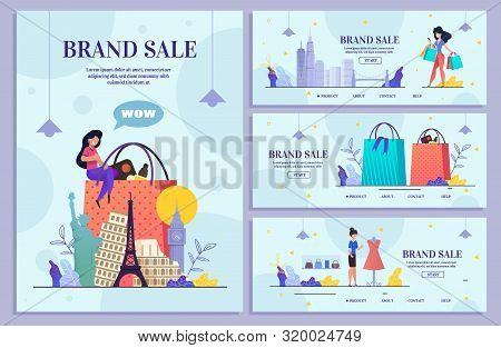 Set Landing Web Page World Brand Sale Bundle Store. Website, Mobile Application Online Shop, Girl, S