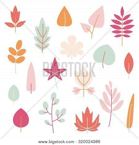Pastel Autumn Leaves Set. Vector Floral Design In Flat Style For Child Illustration