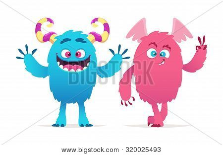 Cute Monsters. Cartoon Boy And Girl Monsters Vector Illustration. Halloween Characters. Funny Monste