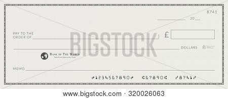 Blank Bank Cheque Template. Check From Checkbook
