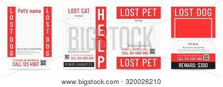 Lost cat pr dog poster, missing pet banner template poster