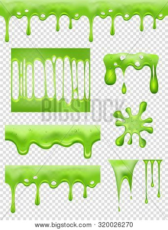 Slime. Green Glue Dipping And Flowing Liquid Drops And Toxic Splashes Vector Pictures. Slime Toxic,