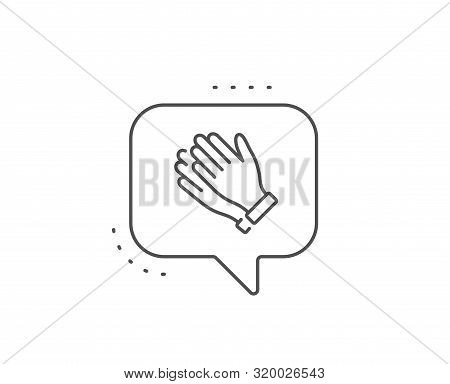 Clapping Hands Line Icon. Chat Bubble Design. Clap Sign. Victory Gesture Symbol. Outline Concept. Th