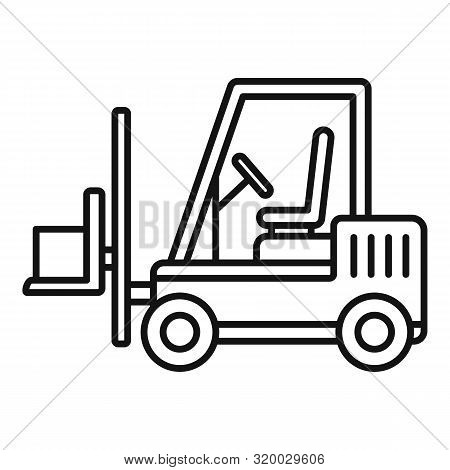 Forklift Icon. Outline Forklift Vector Icon For Web Design Isolated On White Background
