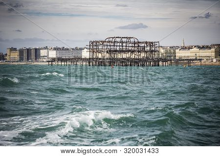 View Of Brighton West Pier And Seafront From Out At Sea