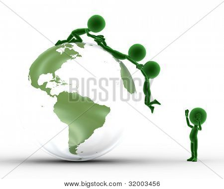 Earth globe conceptual. Helping to get on the peak and other concepts. Environment, ecology.