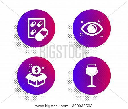Capsule pill, Health eye and Post package icons simple set. Halftone dots button. Bordeaux glass sign. Medicine drugs, Optometry, Postbox. Wine glass. Business set. Vector poster