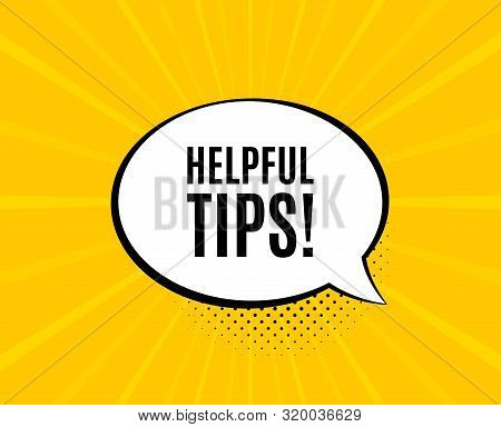 Helpful Tips Symbol. Chat Speech Bubble. Education Faq Sign. Help Assistance. Yellow Vector Banner W