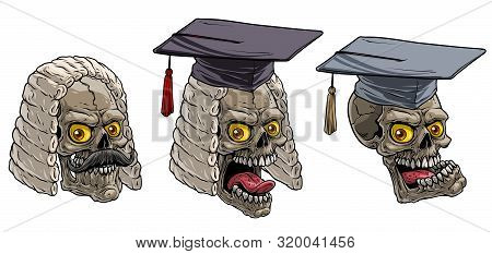 Cartoon Detailed Realistic Colorful Scary Human Skulls In Academic Graduation Mortarboard Square Cap