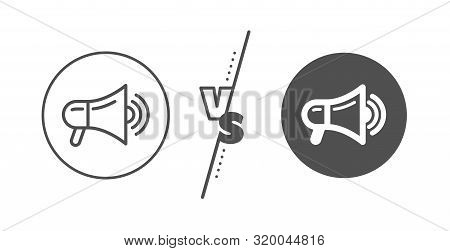Advertisement Device Symbol. Versus Concept. Megaphone Line Icon. Communication Sign. Line Vs Classi