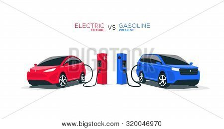 Electric Car Versus Gasoline Car Fuel Fight Isolated