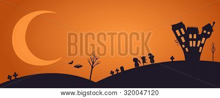 Happy Halloween Banner, Party Invitation, Background With Moon, Haunted House, Kids In Costume, Flyi