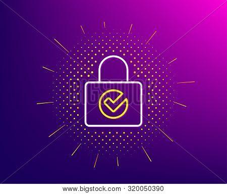 Lock With Check Line Icon. Halftone Pattern. Private Locker Sign. Password Encryption Symbol. Gradie